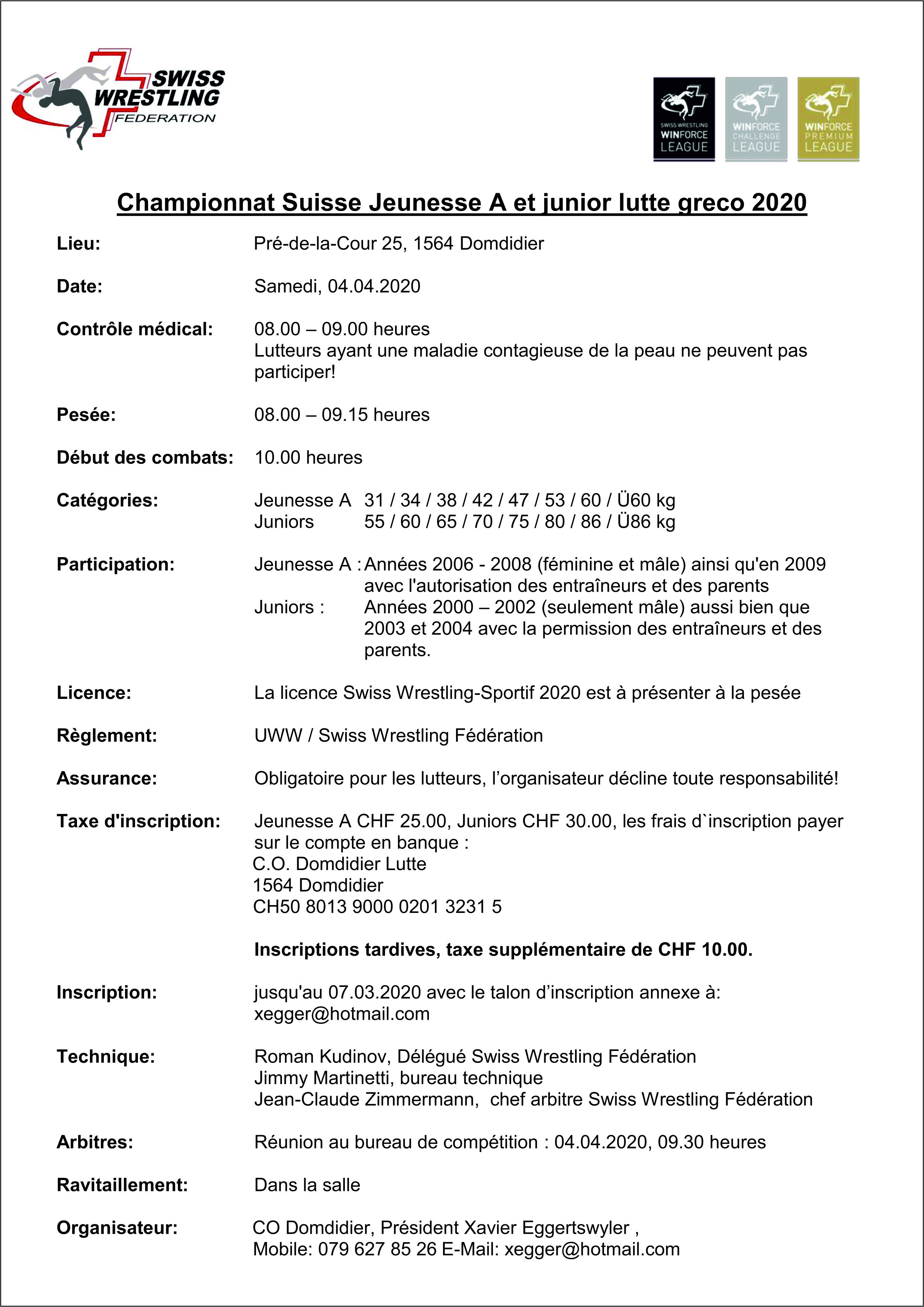 Ausschreibung_SM_2020_ Jugend A u. Junioren Greco Domdidier